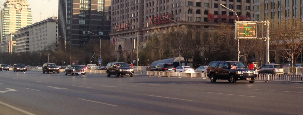 U.S. Vice President Joe Biden's motorcade drives west for his meetings with President Xi Jinping at the Great Hall of the People in Beijing on Dec. 4, 2013. (Photo: Graham Webster)